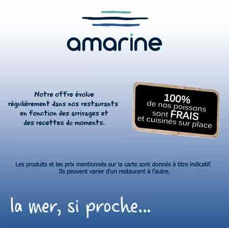 le menu Amarine