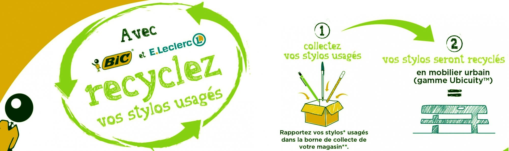 E.Leclerc coopère avec BIC pour recycler vos stylos usés